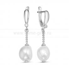 Серьги из серебра с белыми жемчужинами 10-11 мм. Артикул 11893