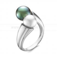 Кольцо из серебра с морской и речной жемчужинами 7,5-10 мм. Артикул 11896