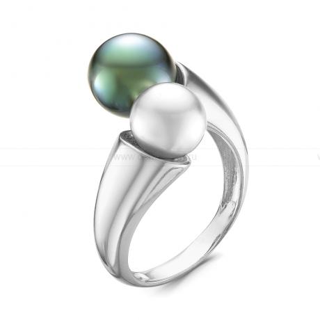 Кольцо из серебра с морской и речной жемчужинами. Артикул 11896