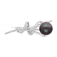 Брошь из серебра с черной жемчужиной. Артикул 11906