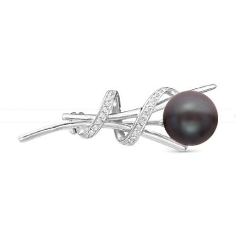 Брошь из серебра с черной жемчужиной 8,5-9 мм. Артикул 11906