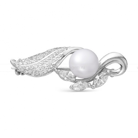 Брошь из серебра с белой жемчужиной. Артикул 11910