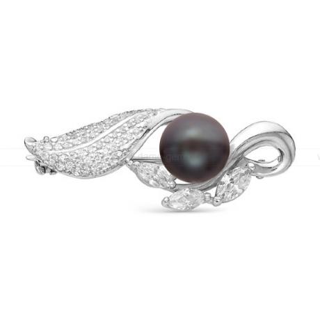 Брошь из серебра с черной жемчужиной 8,5-9 мм. Артикул 11911