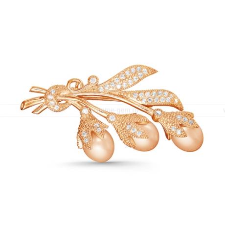 Брошь из серебра с розовыми жемчужинами 7,5-8 мм. Артикул 11915