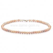 "Ожерелье ""микс"" из розового круглого речного жемчуга 6,5-7 мм. Артикул 11921"