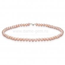 Ожерелье из лавандового круглого речного жемчуга 7-7,5 мм. Артикул 11922
