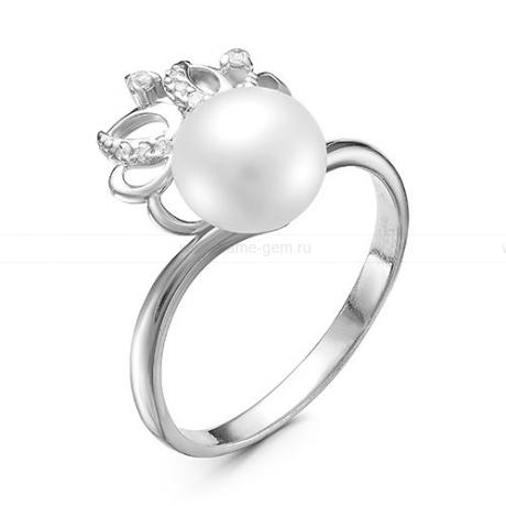 Кольцо из серебра с белой жемчужиной 7,5-8 мм. Артикул 11928