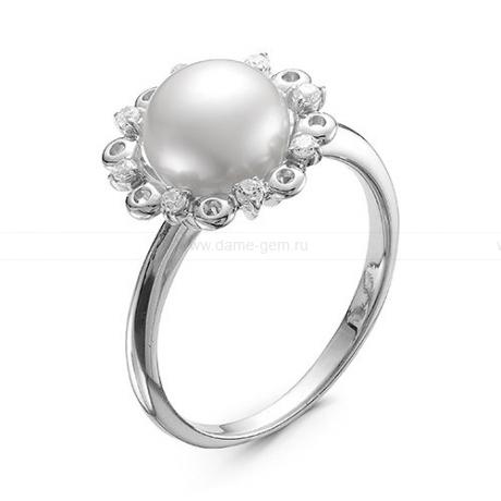 Кольцо из серебра с белой речной жемчужиной 8,5-9 мм. Артикул 11929