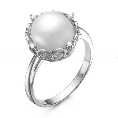 Кольцо из серебра с белой жемчужиной 9,5-10 мм. Артикул 11930