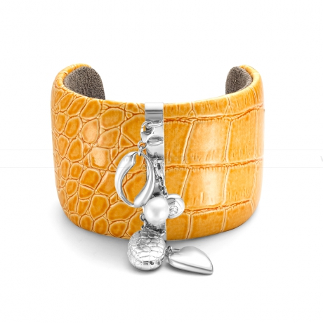 Браслет кожаный с подвесками из серебра. Артикул 11931