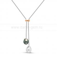 Колье из серебра с речной и морской жемчужинами 13,5-14 мм. Артикул 11941