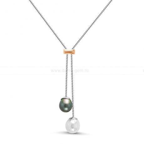 Колье из серебра с речной и морской жемчужинами. Артикул 11941