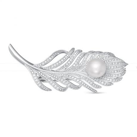 Брошь из серебра с белой жемчужиной 8,5-9 мм. Артикул 11946