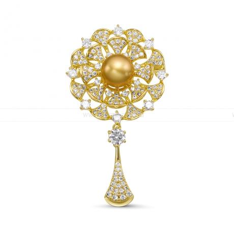 Брошь с золотистой Австралийской жемчужиной. Артикул 11958