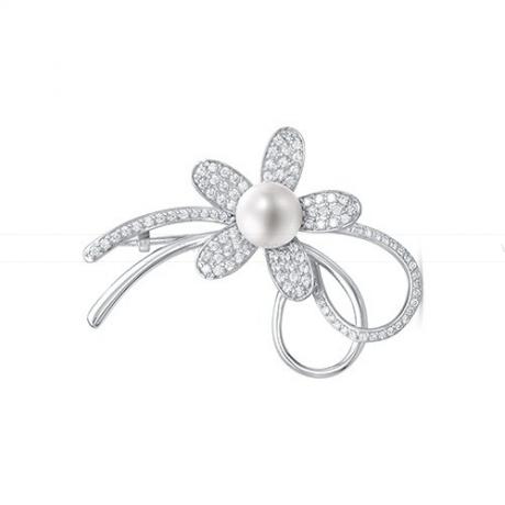 Брошь из серебра с белой жемчужиной 8,5-9 мм. Артикул 11968