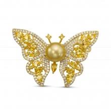 """Брошь """"Бабочка"""" с морской Австралийской жемчужиной. Артикул 11970"""