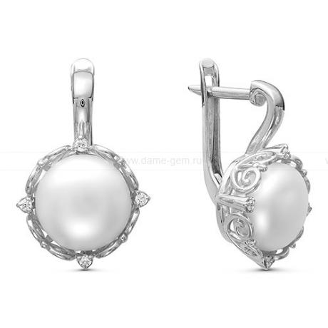 Серьги из серебра с белыми жемчужинами. Артикул 11972