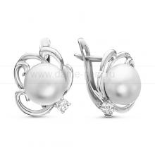 Серьги из серебра с белыми жемчужинами. Артикул 11973