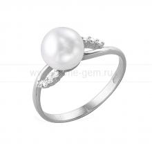 Кольцо из белого золота с белой жемчужиной. Артикул 11995