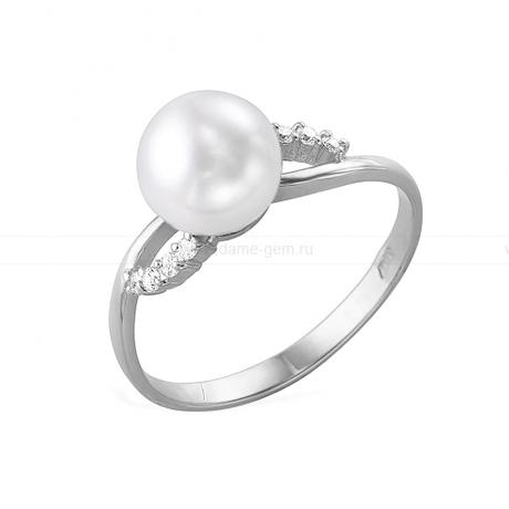 Кольцо из белого золота с белой жемчужиной 7,5-8 мм. Артикул 11995