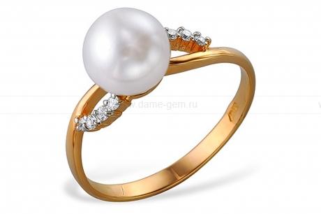 Кольцо из красного золота с белой жемчужиной 7,5-8 мм. Артикул 11996