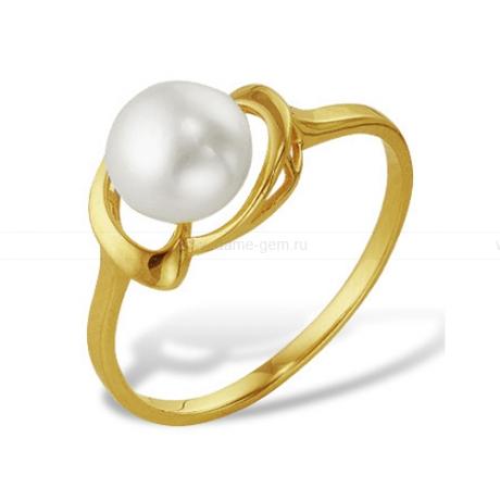 Кольцо из желтого золота с белой жемчужиной 7-7,5 мм. Артикул 11997