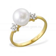 Кольцо из желтого золота с белой жемчужиной. Артикул 11999