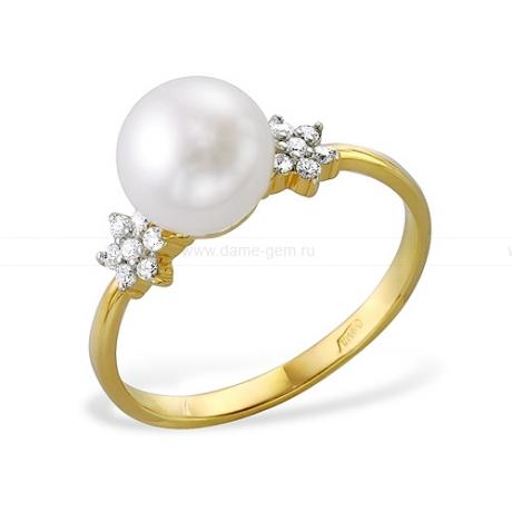 Кольцо из желтого золота с белой жемчужиной 7-7,5 мм. Артикул 11999