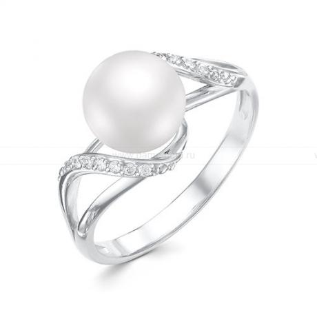 Кольцо из белого золота с белой жемчужиной 8-8,5 мм. Артикул 12000