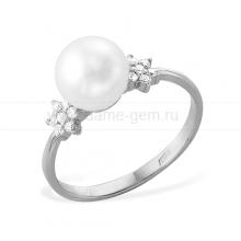 Кольцо из белого золота с белой жемчужиной. Артикул 12001