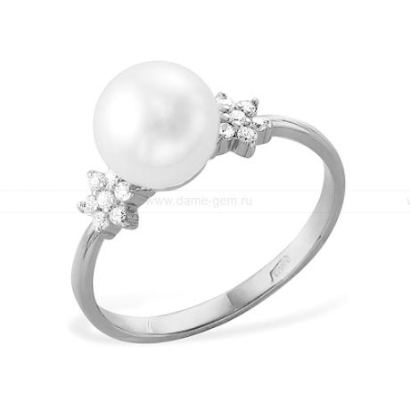 Кольцо из белого золота с белой жемчужиной 8-8,5 мм. Артикул 12001