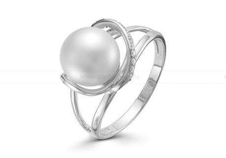 Кольцо из белого золота с белой жемчужиной 8,5-9 мм. Артикул 12002
