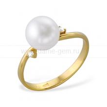 Кольцо из желтого золота с белой жемчужиной. Артикул 12003