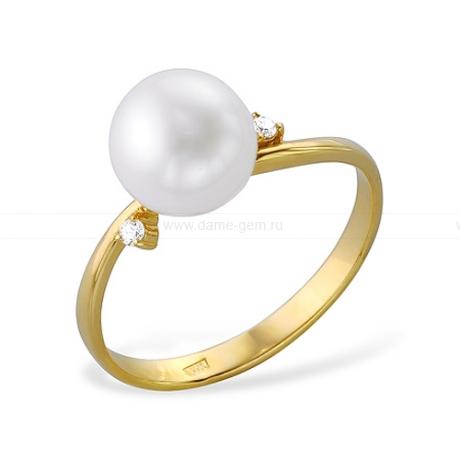 Кольцо из желтого золота с белой жемчужиной 7,5-8 мм. Артикул 12003