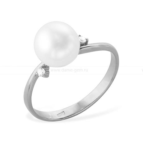Кольцо из белого золота с белой жемчужиной 7-7,5 мм. Артикул 12004