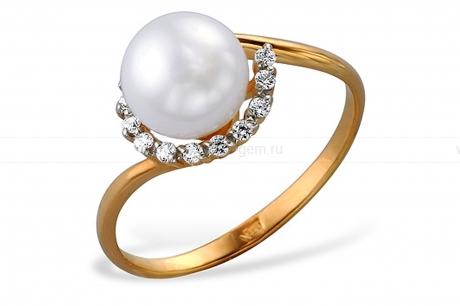Кольцо из красного золота с белой жемчужиной 7-7,5 мм. Артикул 12005