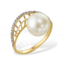 Кольцо из желтого золота с белой жемчужиной. Артикул 12007