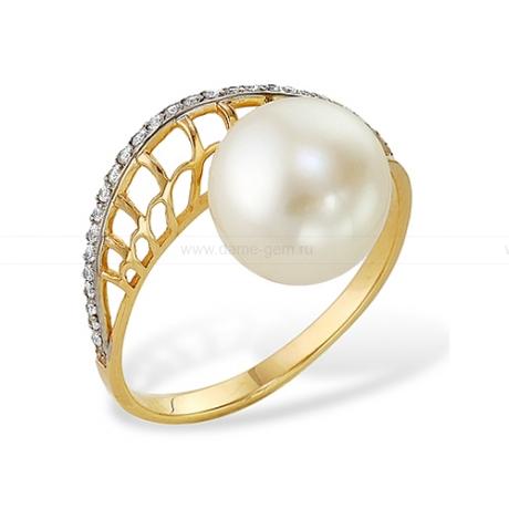 Кольцо из желтого золота с белой жемчужиной 7,5-8 мм. Артикул 12007
