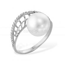 Кольцо из белого золота с белой жемчужиной 7,5-8 мм. Артикул 12008
