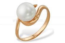 Кольцо из красного золота с белой жемчужиной. Артикул 12009