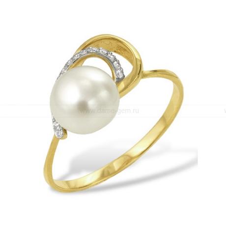 Кольцо из желтого золота с белой жемчужиной 7,5-8 мм. Артикул 12013