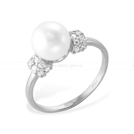 Кольцо из белого золота с белой жемчужиной. Артикул 12015