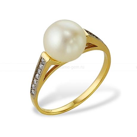 Кольцо из желтого золота с белой жемчужиной 7,5-8 мм. Артикул 12016