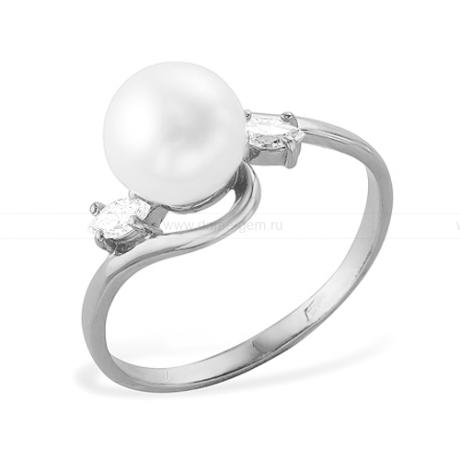 Кольцо из белого золота с белой жемчужиной 7,5-8 мм. Артикул 12017