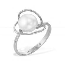 Кольцо из белого золота с белой жемчужиной 8,5-9 мм. Артикул 12020