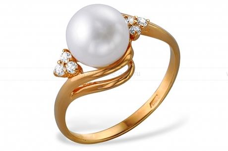 Кольцо из красного золота с белой жемчужиной 7,5-8 мм. Артикул 12021
