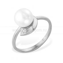 Кольцо из белого золота с белой жемчужиной 6,5-7,5 мм. Артикул 12022