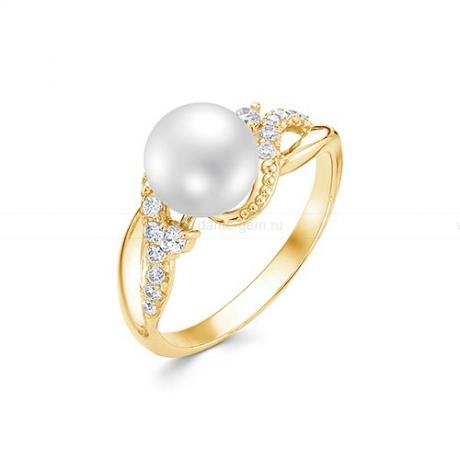 Кольцо из желтого золота с белой жемчужиной 8,5-9 мм. Артикул 12023