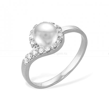 Кольцо из белого золота с белой жемчужиной 7-7,5 мм. Артикул 12024
