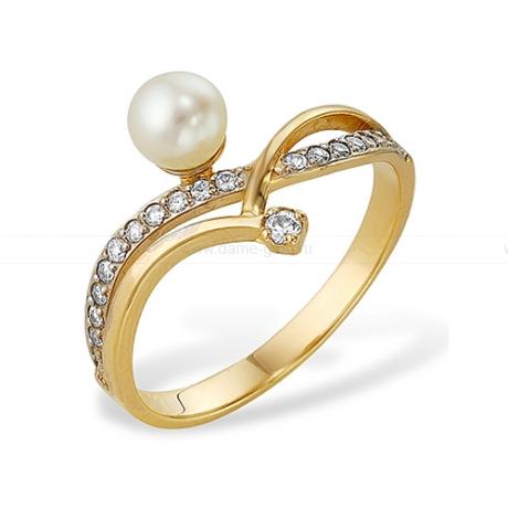 Кольцо из желтого золота с белой жемчужиной 7-7,5 мм. Артикул 12026